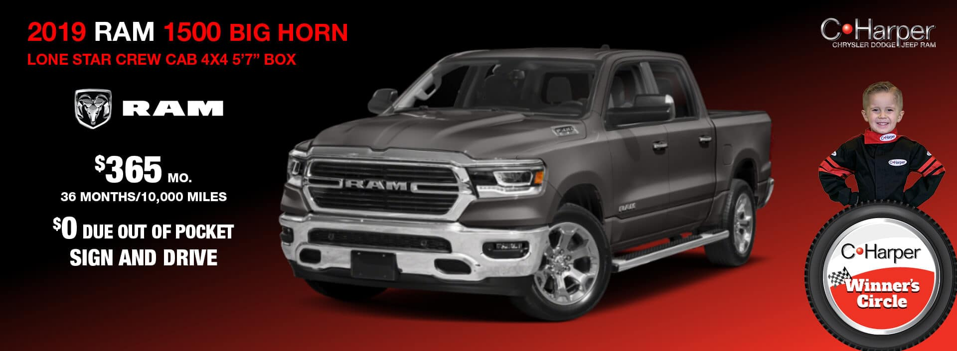 "2019 Ram 1500 Big Horn Lone Star Crew Cab 4X4 5' 7"" Box"