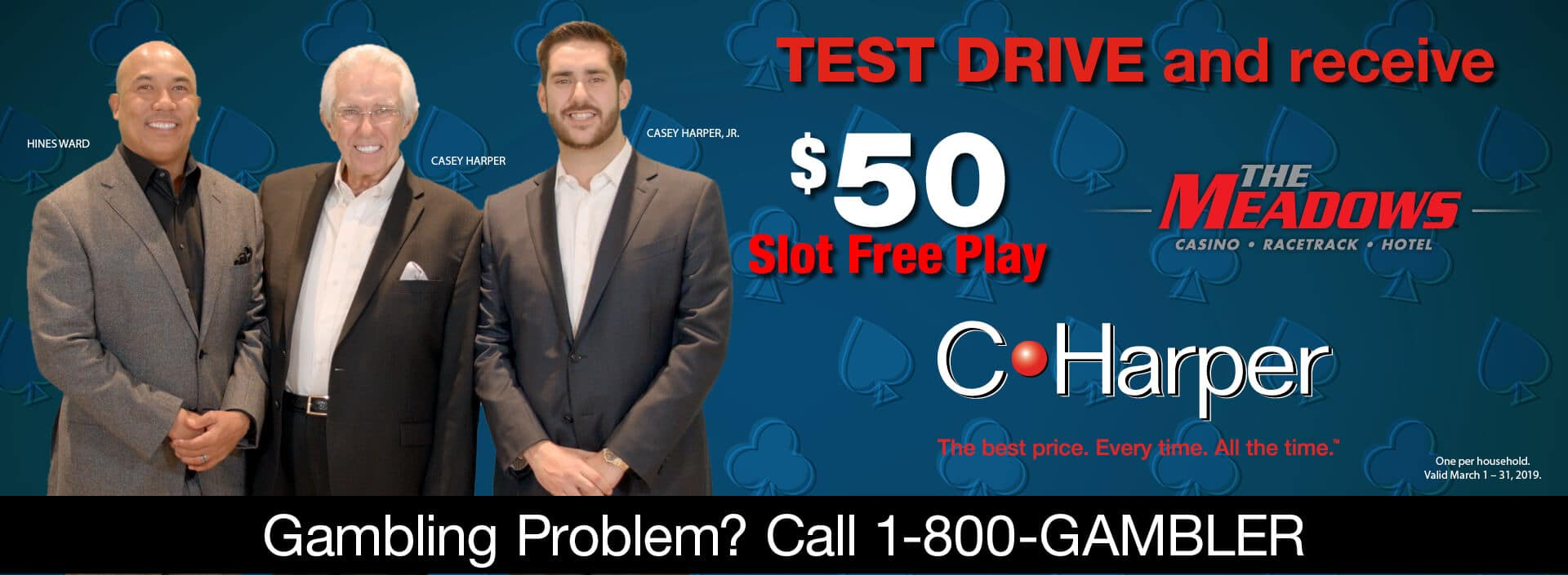 Test drive and receive $50 Slot Free Play at The Meadows