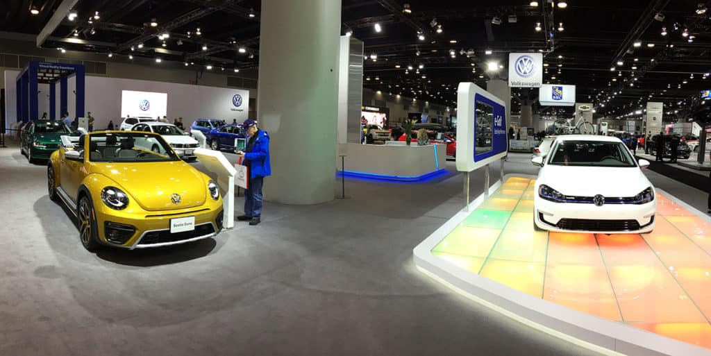Volkswagen Display at the 2017 Vancouver International Auto Show featuring the VW Beetle dune and the E-GGolf