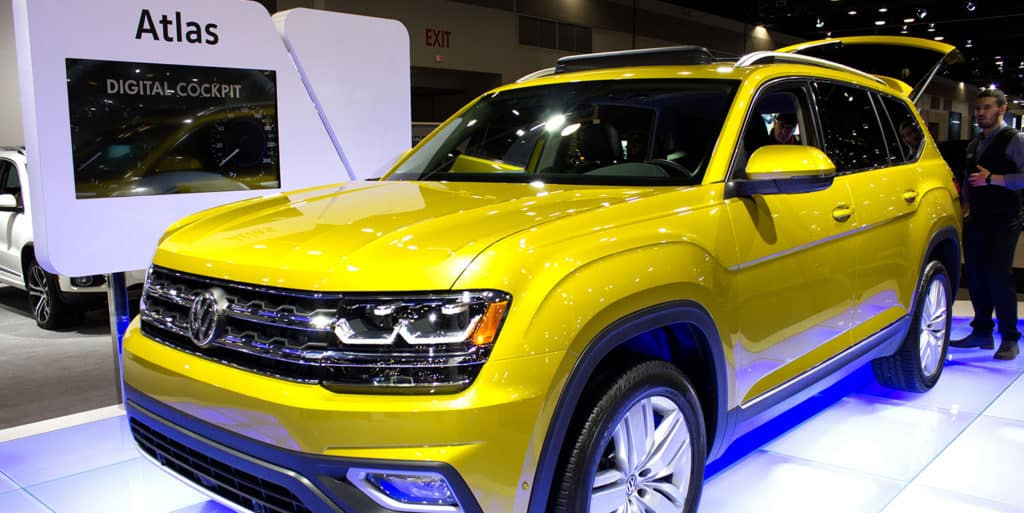 Frontview of the All-New Volkswagen Atlas in Kurkuma Yellow Metallic is on display at the 2017 Vancouver International Auto Show Atlas Room Space seven seats