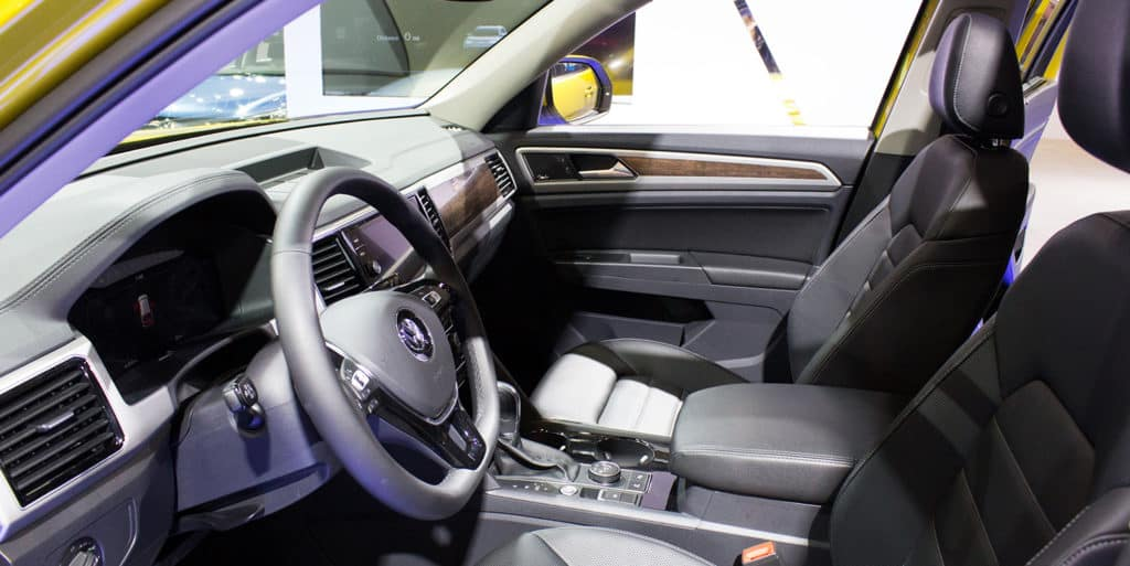 Interior of the All-New Volkswagen Atlas in Kurkuma Yellow Metallic is on display at the 2017 Vancouver International Auto Show