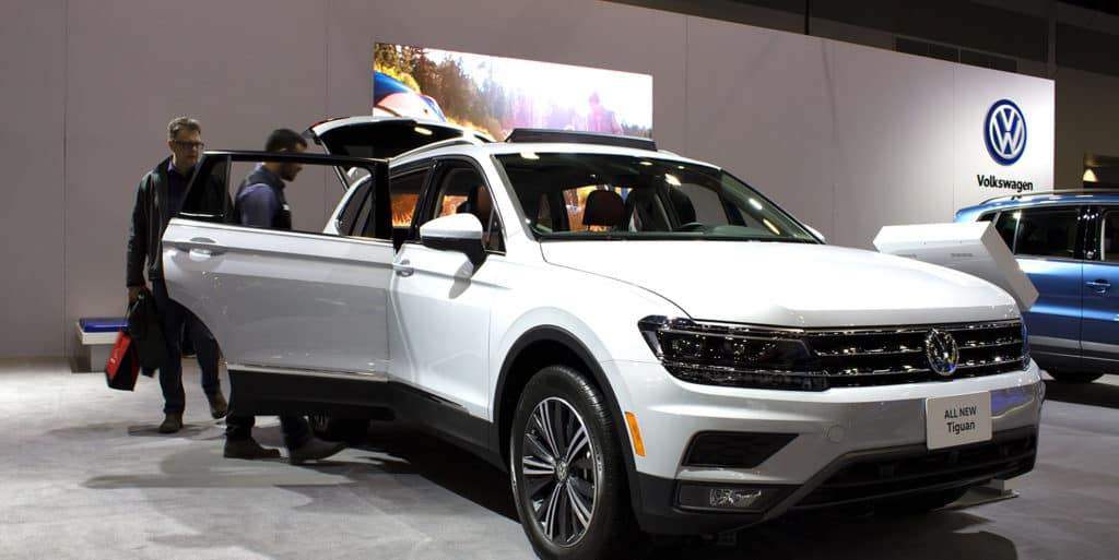 The all-new second-generation Volkswagen Tiguan a mid-size SUV featuring a long wheeel base platform is on display at the 2017 Vancouver International Auto Show