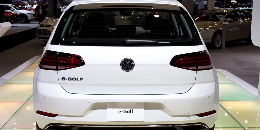 Volkswagen e-Golf, VW's first EV (electric vehicle) is on display at the 2017 Vancouver International Auto Show