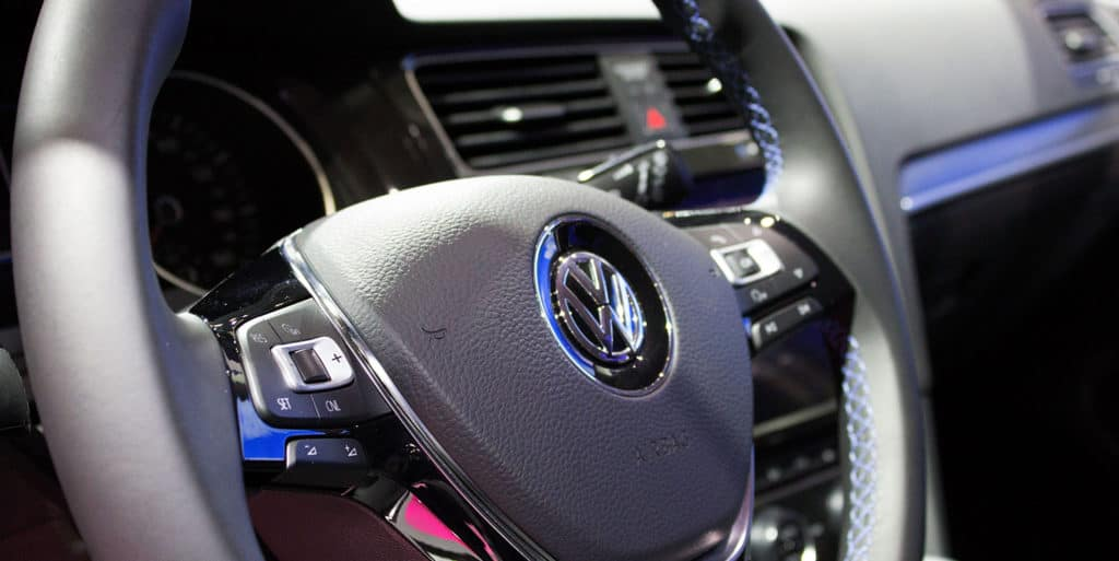 Interior of Volkswagen e-Golf, VW's first EV (electric vehicle) is on display at the 2017 Vancouver International Auto Show