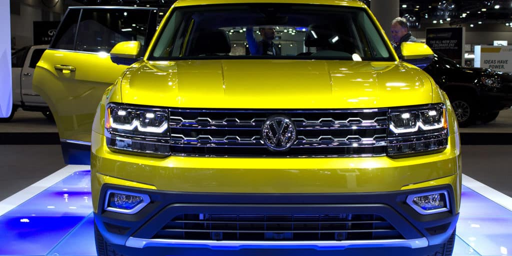 Frontview of the All-New Volkswagen Atlas the brand new full size SUV in Kurkuma Yellow Metallic is on display at the 2017 Vancouver International Auto Show