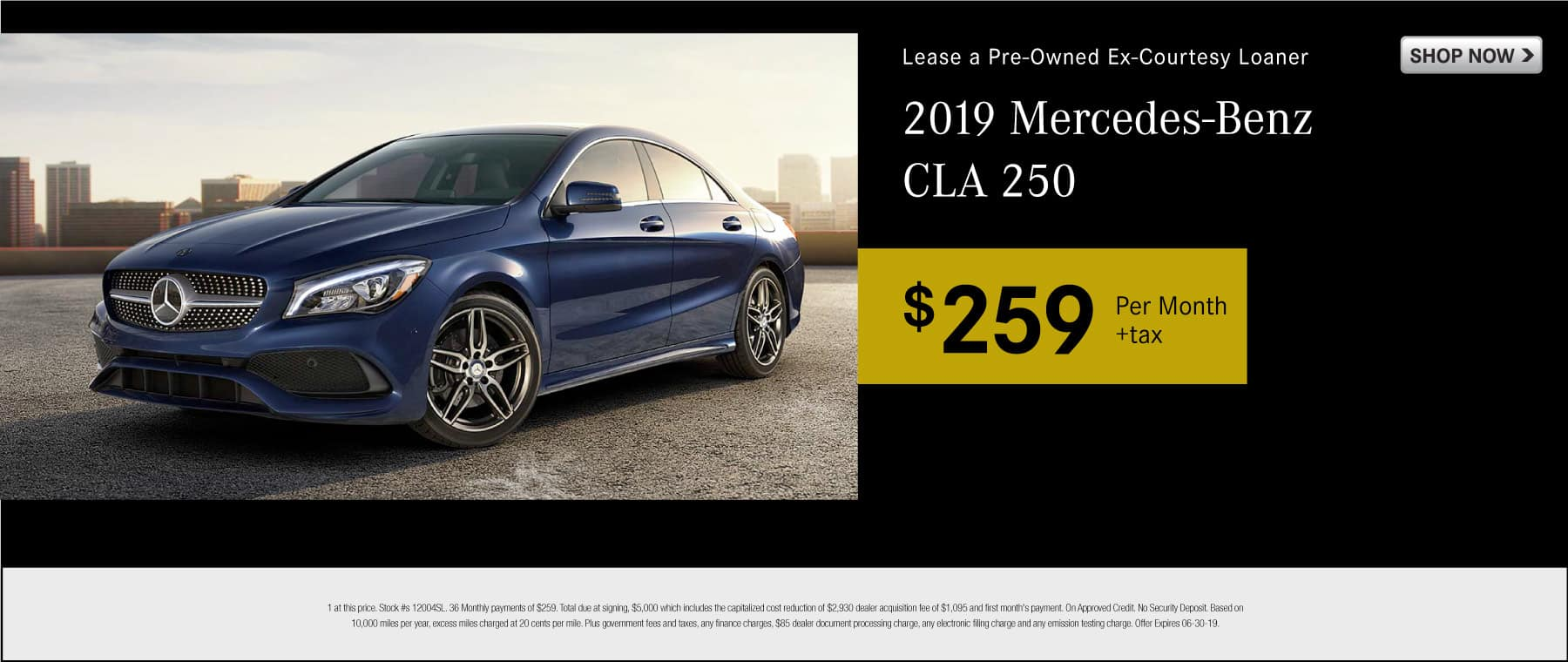 Lease a pre-owned ex-courtesy loaner 2019 Mercedes-Benz CLA 250