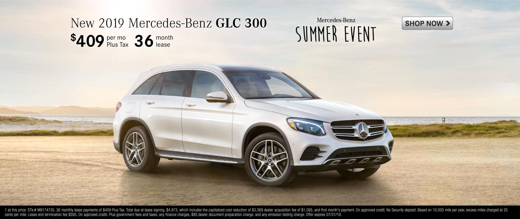 New 2019 Mercedes-Benz GLC 300, $459 per month plus tax, 36 month lease.