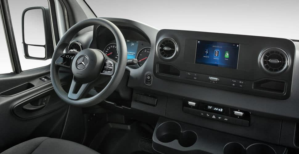 Mercedes-Benz Sprinter driver's seat and dashboard display