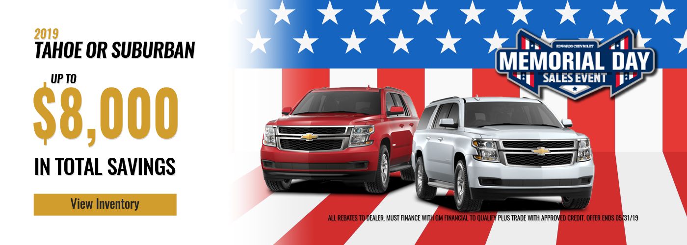 Memorial Day Tahoe & Suburban Offers
