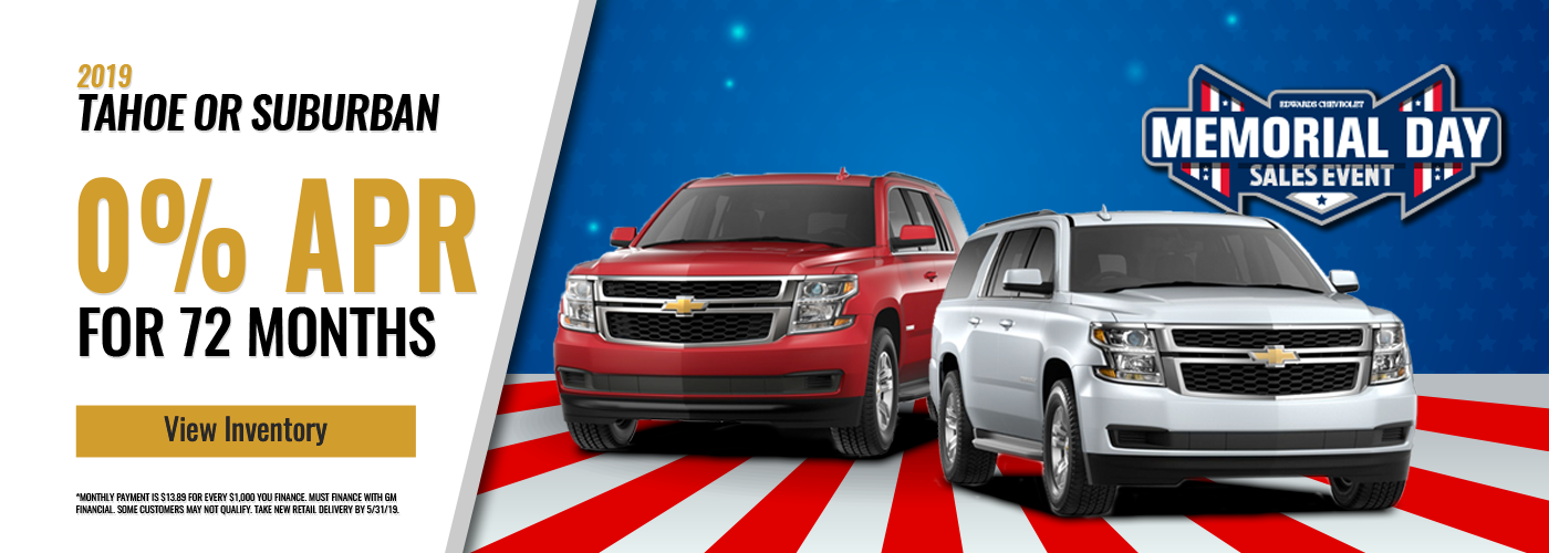 Memorial Day 0% Financing on Tahoe