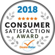 2018 Consumer Satisfaction Award from DealerRater
