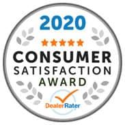 2020 Consumer Satisfaction Award from DealerRater