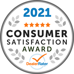 2021 Consumer Satisfaction Award from DealerRater