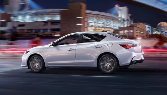 2019 Acura ILX White Exterior Driving at Night