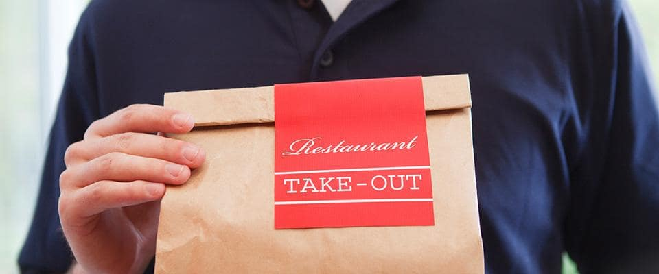 Take out bag and person