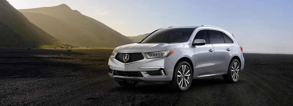 2020 Acura MDX with mountains in the background