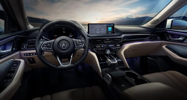 2022 Acura MDX interior dashboard with technology package
