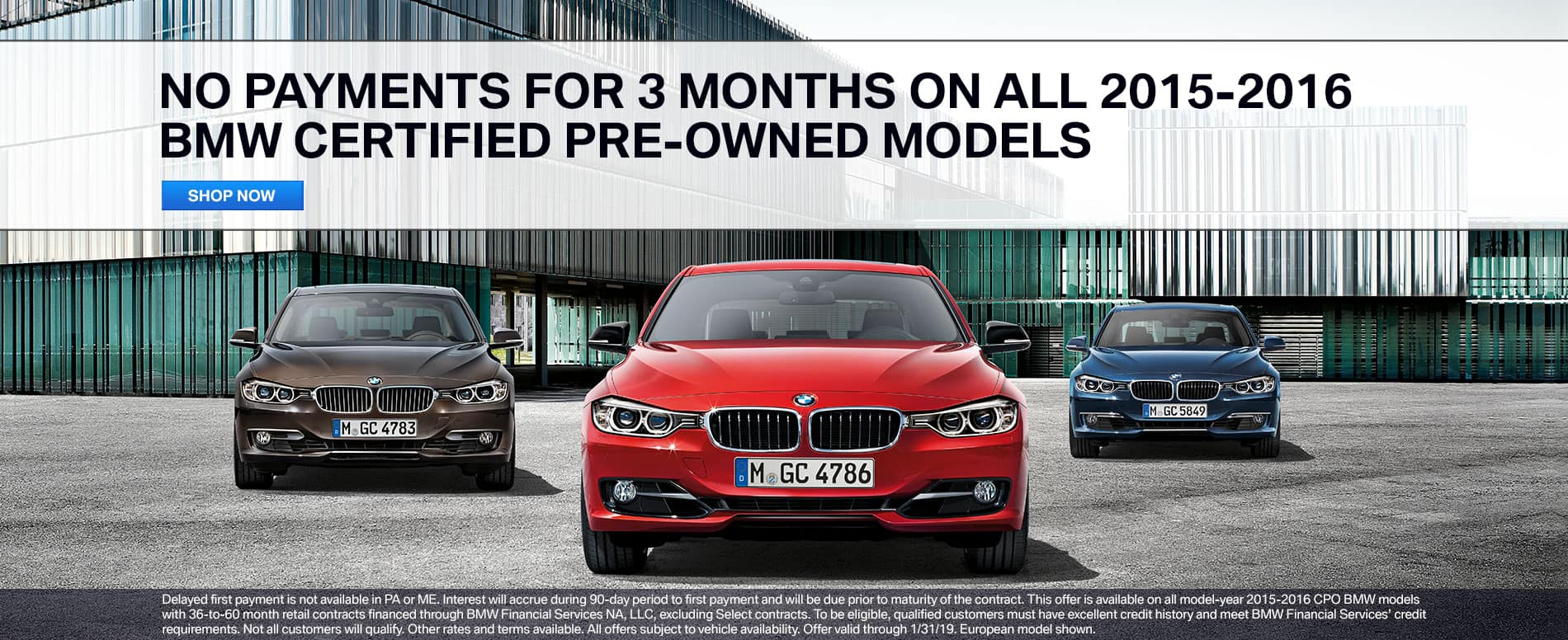 Make No Payments for 3 Months on 2015-2016 BMW CPO Models