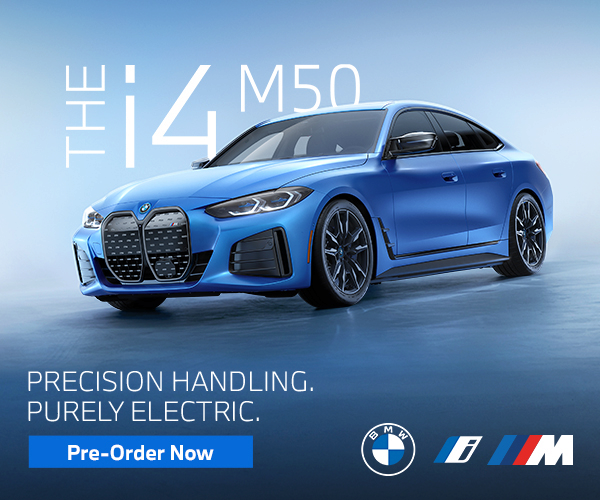 Image of blue i4 vehicle. Click to preorder the i4.