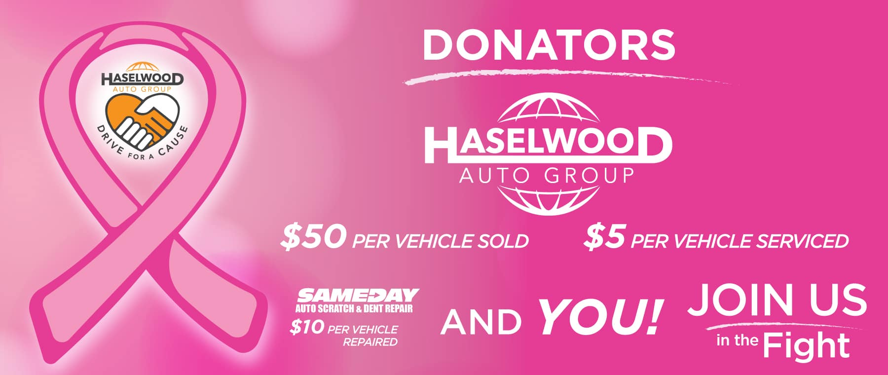 [1] Between 10/01/18-10/31/18, Haselwood Auto Group will donate $50 from every vehicle sold, and $5 from every service repair to the Fred Hutchinson Cancer Research Center.  100% of the contributed funds, including any donations collected from SameDay Scratch & Dent Repair, customers and other individuals, will be donated to Fred Hutch to help them win their fight against breast cancer, and other forms of cancer.