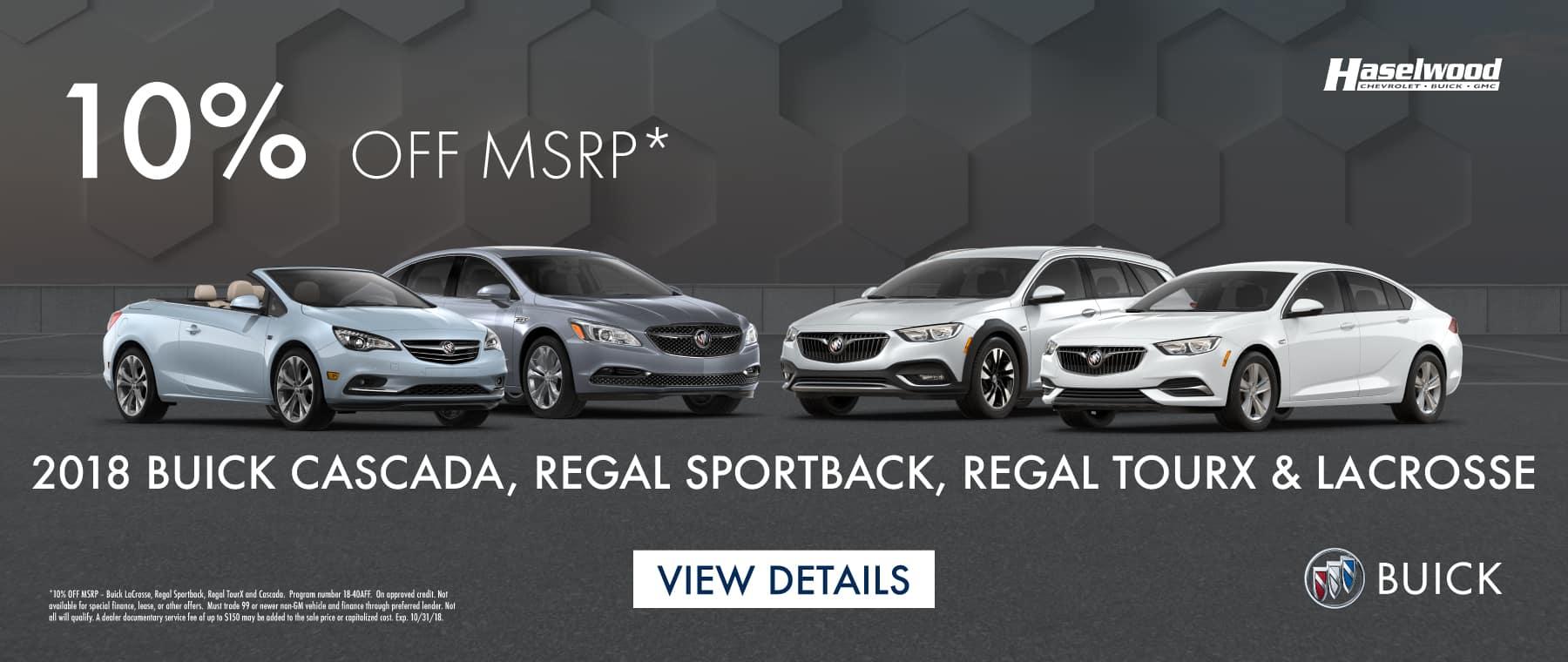 2018 Buick LaCrosse, Regal Sportback, Regal TourX and Cascada 10% OFF MSRP