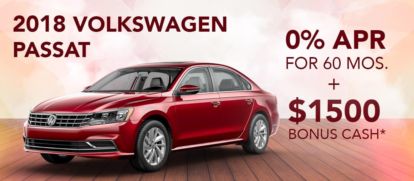 2018 Volkswagen Passat   0% APR for 60 mos. PLUS $1,500 Bonus Cash*