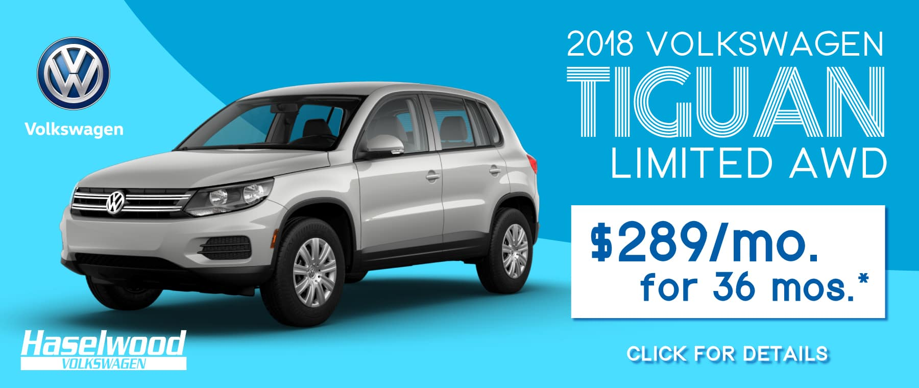 2018 Volkswagen Tiguan LIMITED AWD  $289/mo. For 36 mos.*