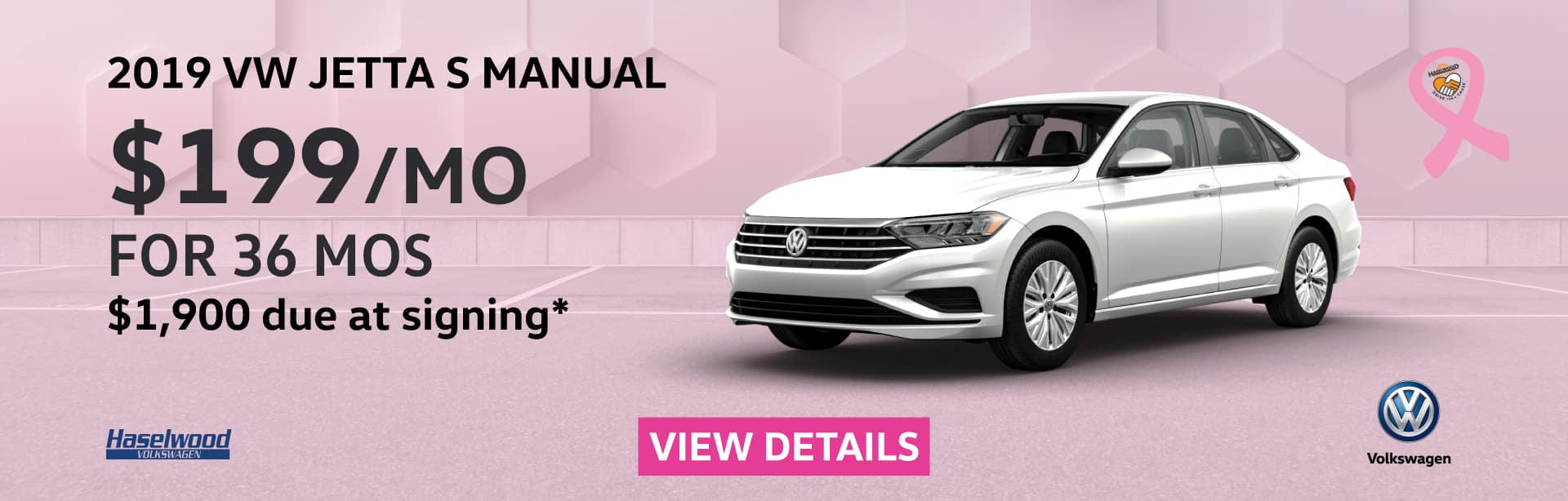 2019 Volkswagen Jetta S Manual  $199/mo. for 36 months $1,900 Due at Signing    * Offer valid on 2019 Volkswagen Jetta S Manual. $199 per mo. for 36 months. Lease with $1,900 due at signing; includes a $595 acquisition fee, lease through Volkswagen Credit. No security deposit required. Valid on VIN: 3VWN57BUXKM115492, 3VWN57BU4KM119022, 3VWN57BUXKM115069. For highly qualified customers on approved top tier credit through Volkswagen Credit. Lessee responsible for maintenance, excessive wear/tear and 20¢/mi over 10K mi/yr. Excludes state and local taxes, tags, registration and title, insurance and dealer charges. Subject to credit approval. 36 monthly payments required. Monthly lease payment based on MSRP of $20,160 and destination charges less a suggested dealer contribution resulting in a Gross capitalized cost of $18,920. Cap cost reduction: $1,240. A negotiable dealer documentary service fee of up to $150 may be added to the sale price or capitalized cost. See dealer for complete details and restrictions. 6 years/72,000 miles (whichever occurs first). New Vehicle Limited Warranty on MY2018 and newer VW vehicles, excluding e-Golf. See owner's literature or dealer for warranty exclusions and limitations. Exp. 11/1/2019.