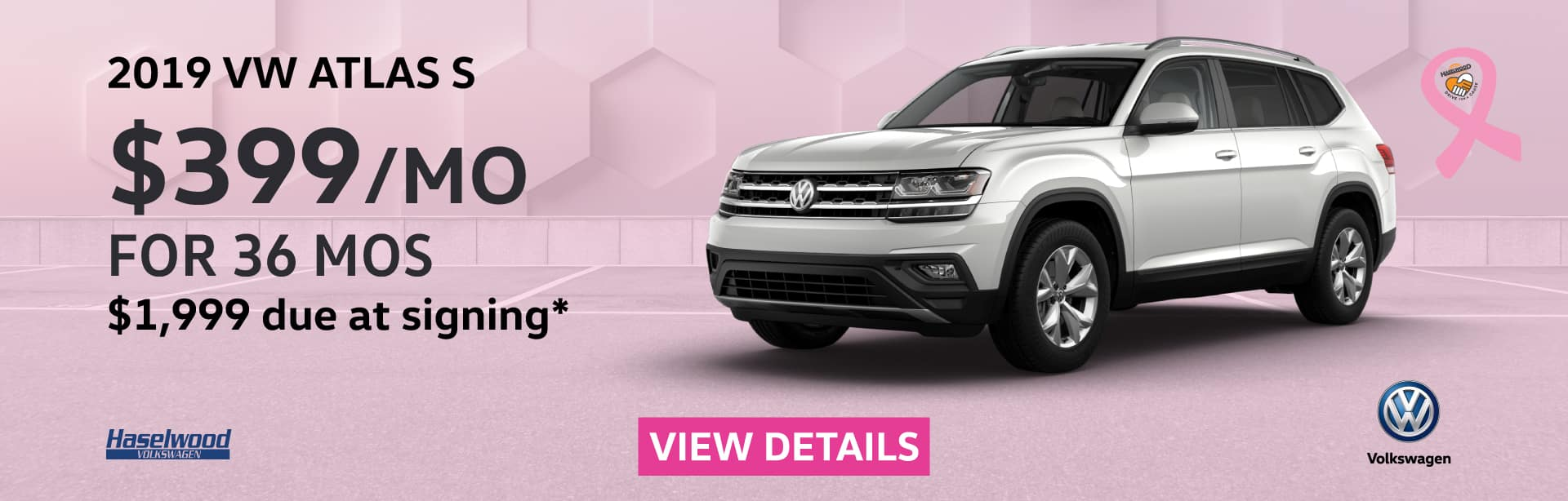 2019 Volkswagen Atlas S  $399/mo. for 36 months $1,999 Due at Signing    * Offer valid on 2019 Volkswagen Atlas S. $399 per mo. for 36 months. Lease with $1,999 due at signing; includes a $595 acquisition fee, lease through Volkswagen Credit. No security deposit required. Valid on VIN: 1V2GR2CA9KC594866, 1V2GR2CA8KC600897. For highly qualified customers on approved top tier credit through Volkswagen Credit. Lessee responsible for maintenance, excessive wear/tear and 20¢/mi over 10K mi/yr. Excludes state and local taxes, tags, registration and title, insurance and dealer charges. Subject to credit approval. 36 monthly payments required. Monthly lease payment based on MSRP of $36,010 and destination charges less a suggested dealer contribution resulting in a Gross capitalized cost of $35,052. Cap cost reduction: $958. A negotiable dealer documentary service fee of up to $150 may be added to the sale price or capitalized cost. See dealer for complete details and restrictions. 6 years/72,000 miles (whichever occurs first). New Vehicle Limited Warranty on MY2018 and newer VW vehicles, excluding e-Golf. See owner's literature or dealer for warranty exclusions and limitations. Exp. 11/1/2019.