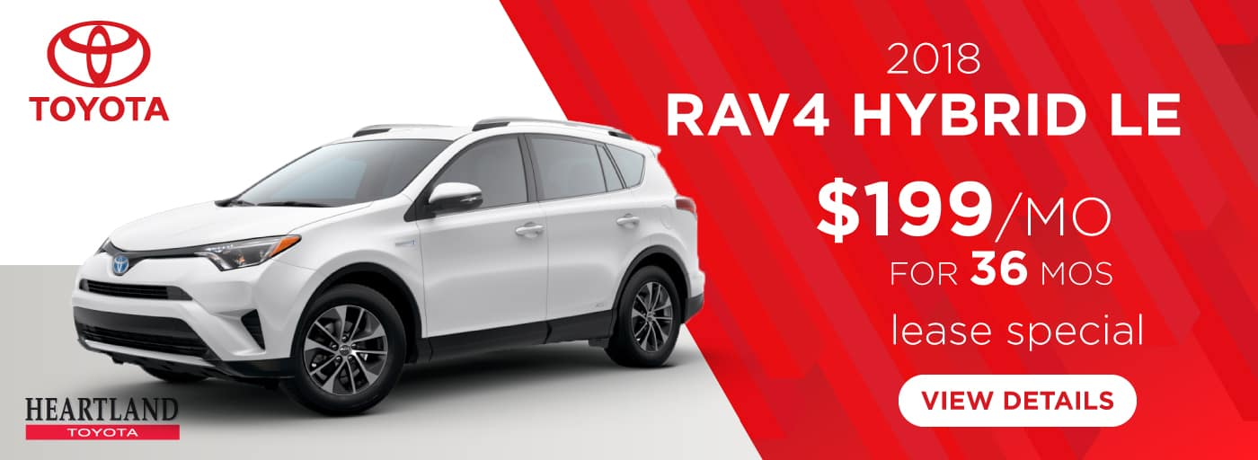 2018 Toyota Rav4 Hybrid LE $199 per month lease special for 36 mos*