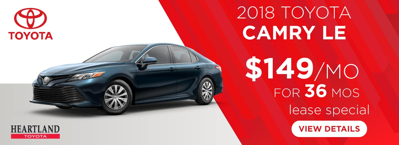 2018 Toyota Camry LE $149 per month lease special for 36 months*