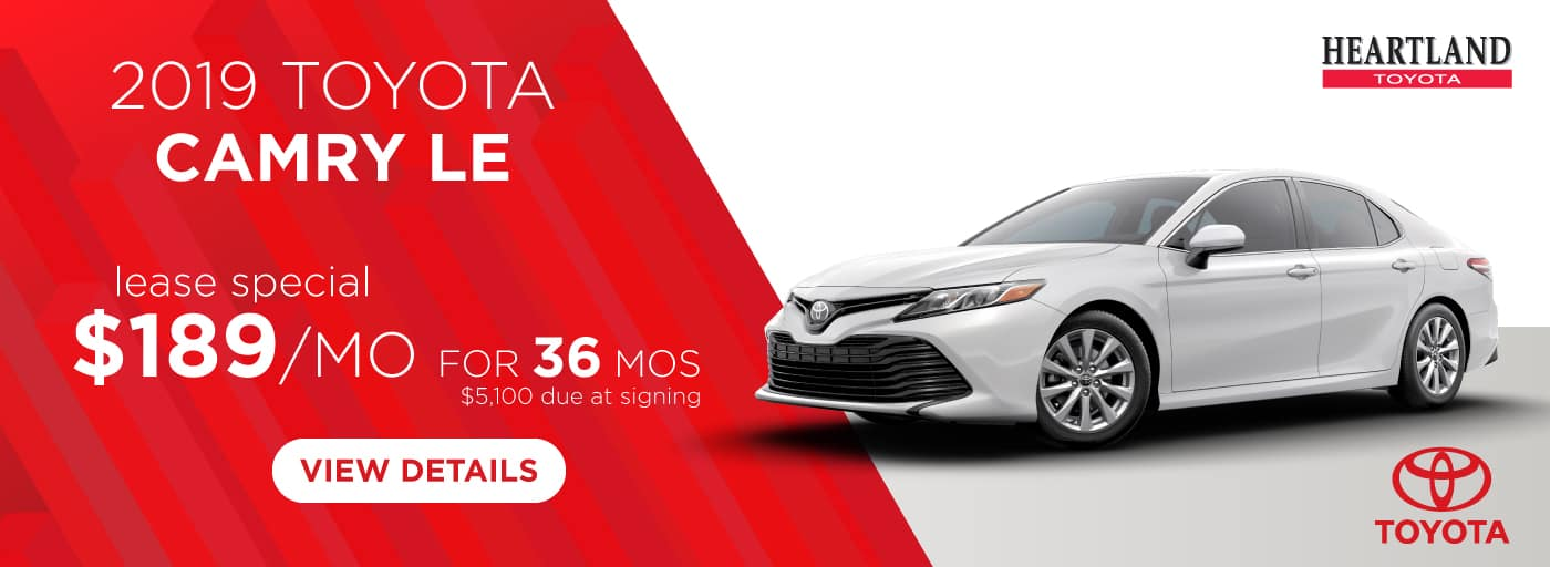 2019 Toyota Camry LE $189/mo. For 36 months* *$189 per mo. for 36 months. Lease with $5,100 due at signing; includes a $595 acquisition fee on 2019 Toyota Camry LE (Model 2532). MSRP starting at $25,270. Subject to credit approval. No Security deposit required. Excludes taxes, title, and fees. Valid on VIN: 4T1B11HK8KU683526, 4T1B11HKXKU169340, 4T1B11HKXKU685472. 36 monthly payments required. Not all lessees will qualify for lowest payment through participating lender. Residency restrictions apply. Lessee responsible for mileage over 12,000 miles at $0.15/mile per year. Option to purchase at lease end. A negotiable dealer documentary service fee of up to $150 may be added to the sale price or capitalized cost. Offer expires 1/31/2019.