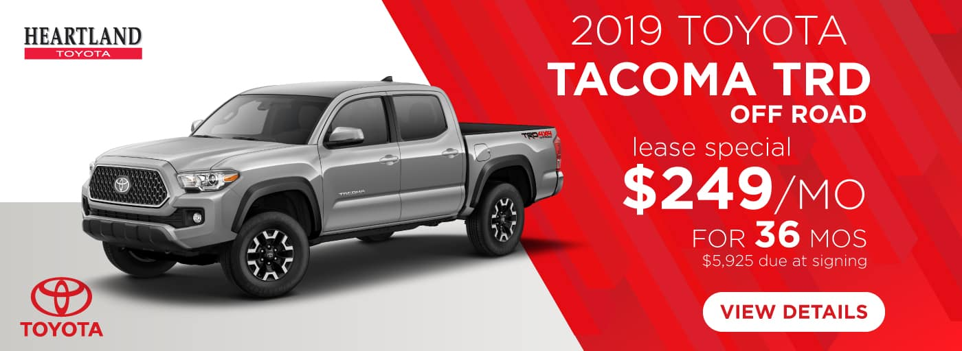 2019 Toyota Tacoma TRD Off Road (Featured Vehicle) $249/mo. for 36 months* *$249 per mo. for 36 months lease with $5,925 due at signing; includes a $595 acquisition fee on 2019 Toyota Tacoma TRD Off Road (Model 7544). MSRP is $38,280. Subject to credit approval. No Security deposit required. Excludes taxes, title, and fees. Valid on VIN: 3TMCZ5AN3KM211641, 3TMCZ5ANXKM211376, 3TMCZ5AN0KM212522. 36 monthly payments required. Not all lessees will qualify for lowest payment through participating lender. Residency restrictions apply. Lessee responsible for mileage over 12,000 miles at $0.15/mile per year. Option to purchase at lease end. A negotiable dealer documentary service fee of up to $150 may be added to the sale price or capitalized cost. Offer expires 1/31/2019.