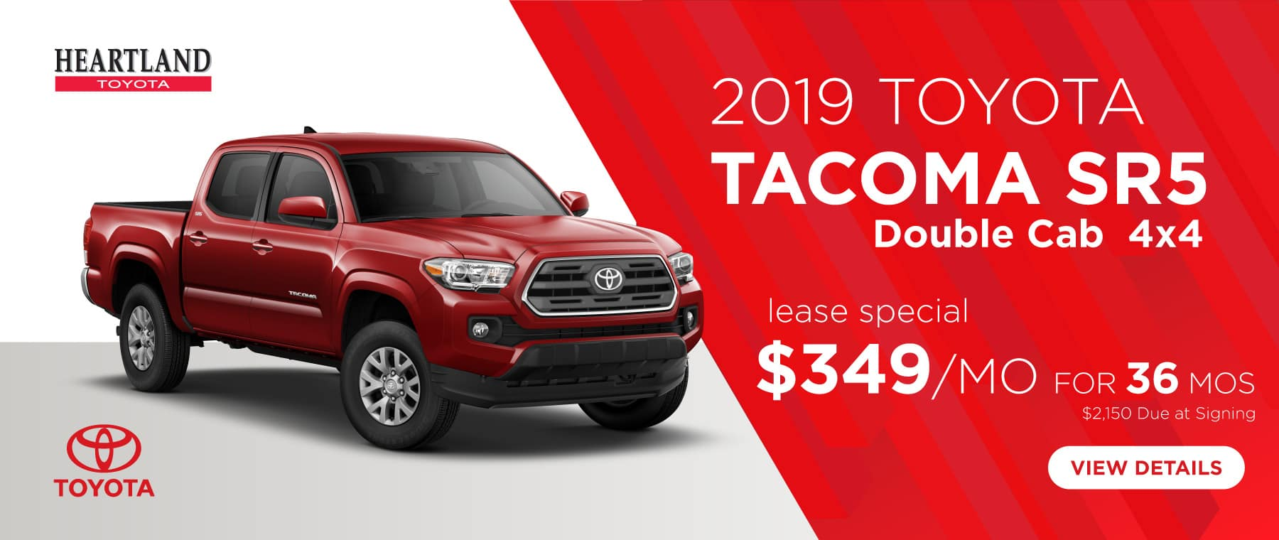 2019 Toyota Tacoma SR5 Double Cab 4x4  $349/mo. For 36 months*