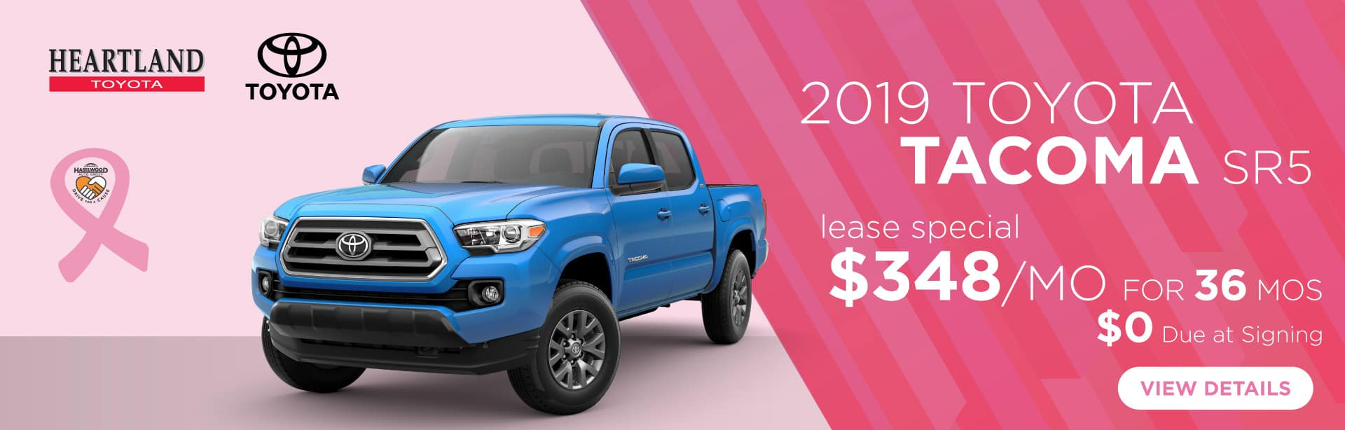 2019 Toyota Tacoma SR5 (featured vehicle)  $348/mo for 36 months* $0 Due at Signing    *Offer valid on 2019 Toyota Tacoma. $348 per month for 36 months. Lease with $0 due at signing; includes a $695 acquisition fee. Valid on VIN: 3TMCZ5AN0KM283249, 3TMCZ5AN7KM280607, 3TMCZ5AN4KM280211. MSRP $36,085. Lease is through TFS. Subject to credit approval. No Security deposit required. Excludes taxes, title, and fees. 36 monthly payments required. Not all lessees will qualify for lowest payment through participating lender. Residency restrictions apply. Lessee responsible for mileage over 10,000 miles per year at $0.15/mile per year. Option to purchase at lease end. A negotiable dealer documentary service fee of up to $150 may be added to the sale price or capitalized cost. Offer expires 11/4/2019.