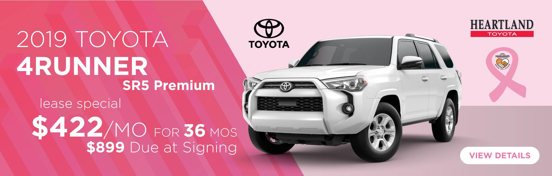2019 Toyota 4Runner SR5 Premium $422/mo for 36 months* $899 Due at Signing    *Offer valid on 2019 Toyota 4Runner SR5 Premium. $422 per month for 36 months. Lease with $899 due at signing; includes a $695 acquisition fee. Valid on VIN: JTEBU5JR2K5726869, JTEBU5JR6K5723005, JTEBU5JRXK5708801. MSRP $40,210. Lease is through TFS. Subject to credit approval. No Security deposit required. Excludes taxes, title, and fees. 36 monthly payments required. Not all lessees will qualify for lowest payment through participating lender. Residency restrictions apply. Lessee responsible for mileage over 10,000 miles per year at $0.15/mile per year. Option to purchase at lease end. A negotiable dealer documentary service fee of up to $150 may be added to the sale price or capitalized cost. Offer expires 11/4/2019.