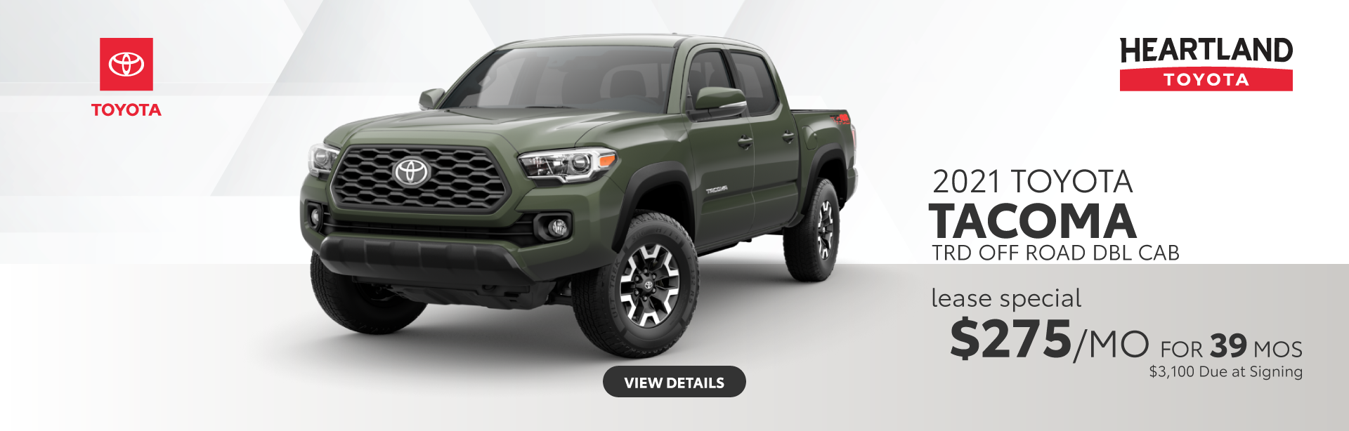 2021 Toyota Tacoma TRD OFF Road Double Cab $279/mo for 39 mos $3,100 due at signing