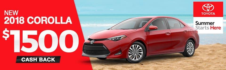 2018 Toyota Corolla Customer Cash Back Special