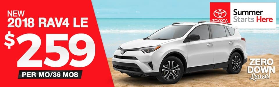 New 2018 Toyota RAV4 $0 Down Lease Special