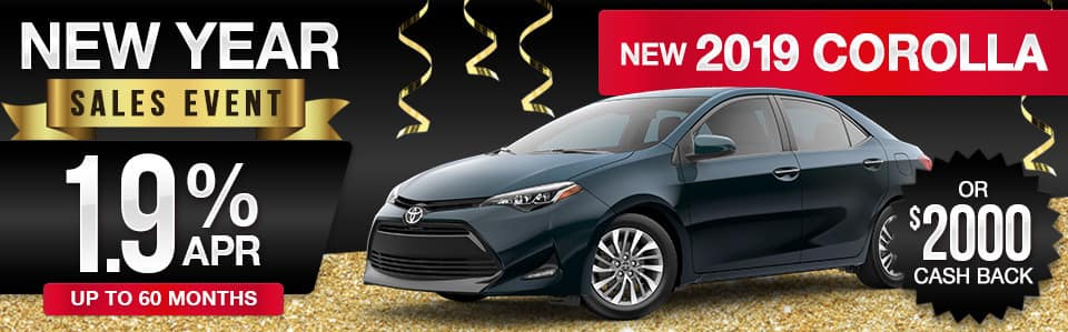 2019 Toyota Corolla Finance or Cash Back Special