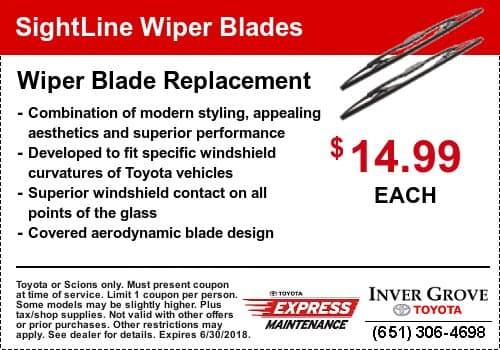 Toyota Wiper Service Coupon - Wiper Blades