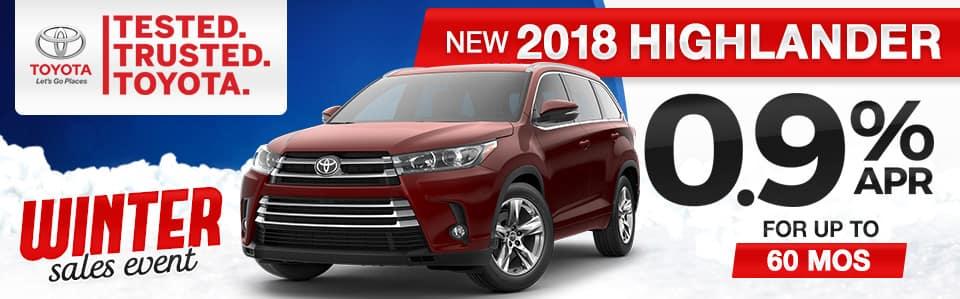 New 2018 Toyota Highlander Finance Special