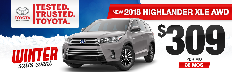 New 2018 Toyota Highlander XLE Lease Special