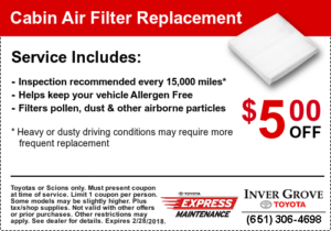 Toyota Service Coupon - Cabin Filter
