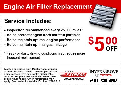 Toyota Service Coupon - Engine Air Filter