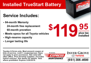 Toyota Service Coupon - Battery