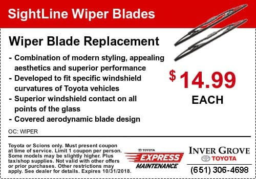 Toyota Windshield Wiper Blades Coupon