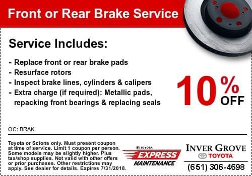 toyota brake service coupon savings