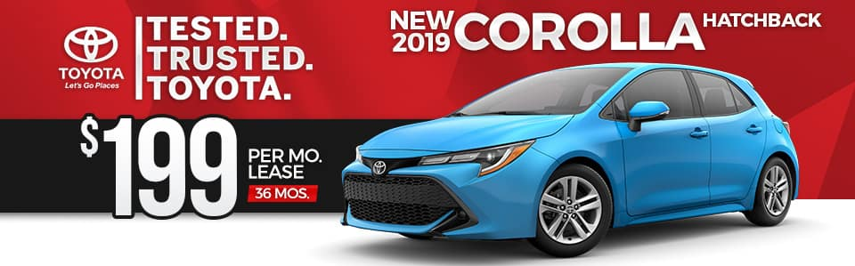 2019 Toyota Corolla Hatchback Lease Special
