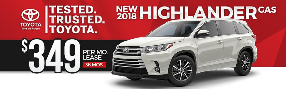 New 2018 Toyota Highlander Lease Special